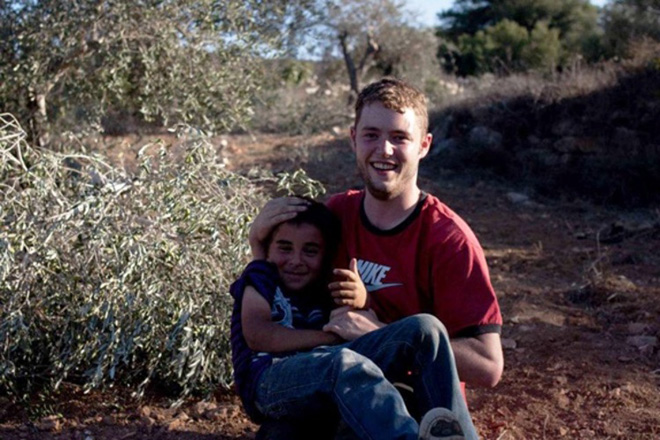 David Shaw in the Olive Groves, Qaryout, Palestine