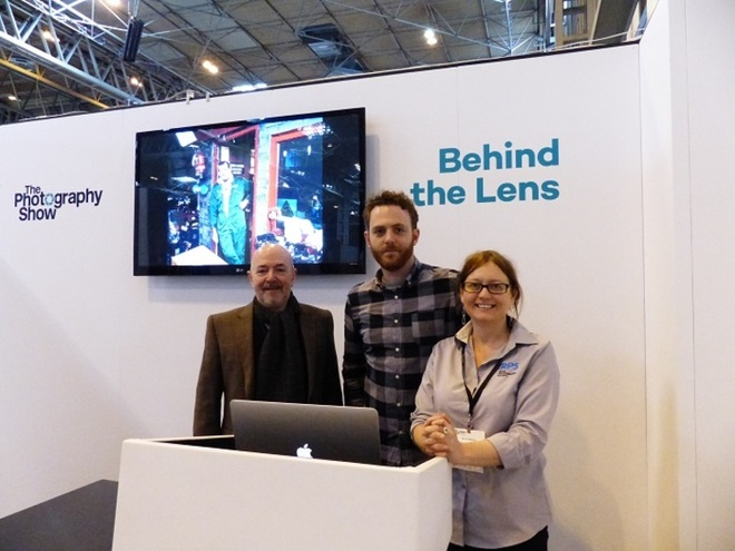 Bursary winner Toby Smith pictured (centre) with Graham Carey, Joint CEO of The Photographic Angle, and Liz Williams, Education Manager at The Royal Photographic Society